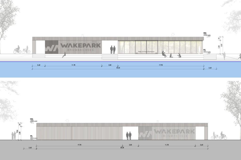 Vorder- und Rückseite des neuen Betriebsgebäudes inkl. Gastronomie, Ticketverkauf, Shop und Sanitären Anlagen.