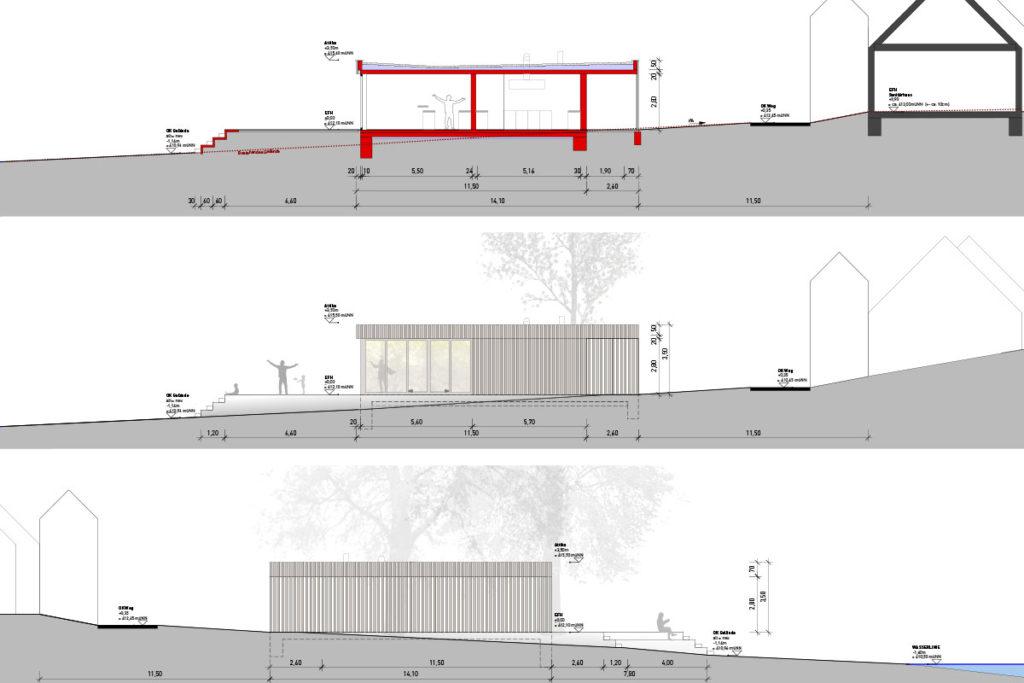 Seitenansicht des neuen Betriebsgebäudes. Das Gebäude wurde von den Architekten SESA aus Stuttgart entwickelt.